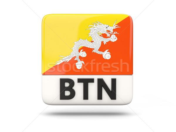 Vierkante icon vlag Bhutan iso code Stockfoto © MikhailMishchenko