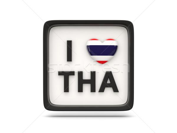 Szeretet Thaiföld felirat izolált fehér zászló Stock fotó © MikhailMishchenko