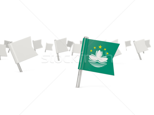 Square pin with flag of macao Stock photo © MikhailMishchenko
