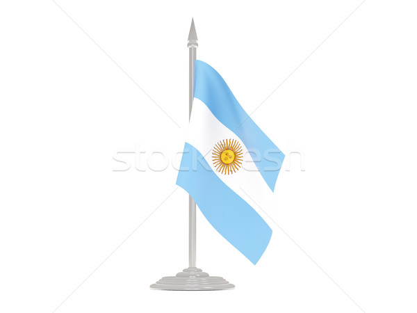 флаг Аргентина флагшток 3d визуализации изолированный белый Сток-фото © MikhailMishchenko
