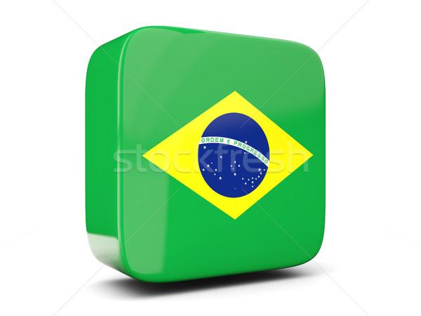Square icon with flag of brazil square. 3D illustration Stock photo © MikhailMishchenko