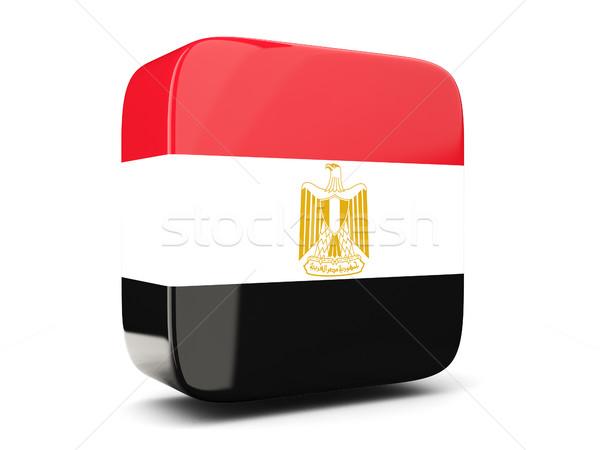 квадратный икона флаг Египет 3d иллюстрации изолированный Сток-фото © MikhailMishchenko