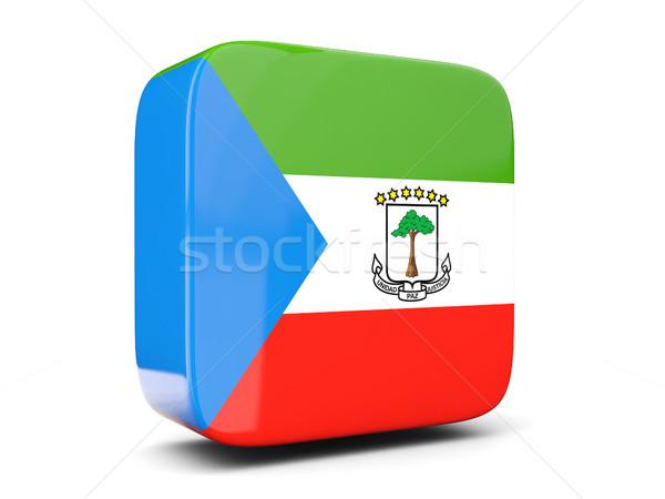 Сток-фото: квадратный · икона · флаг · Экваториальная · Гвинея · 3D · изолированный