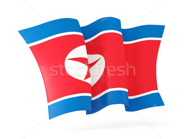 Waving flag of korea north. 3D illustration Stock photo © MikhailMishchenko