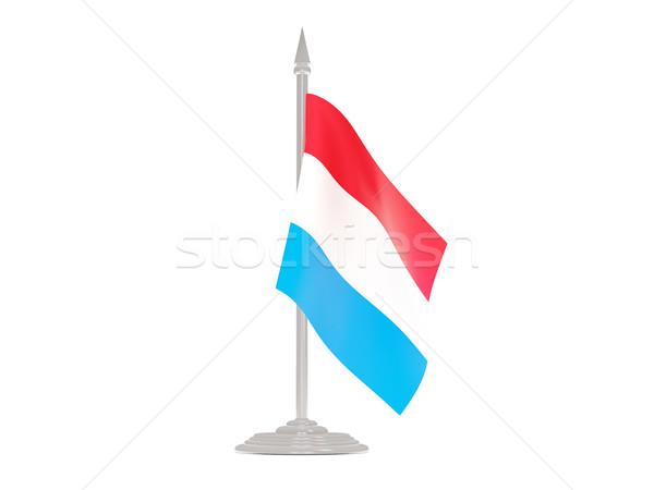 Banderą Luksemburg maszt 3d odizolowany biały Zdjęcia stock © MikhailMishchenko