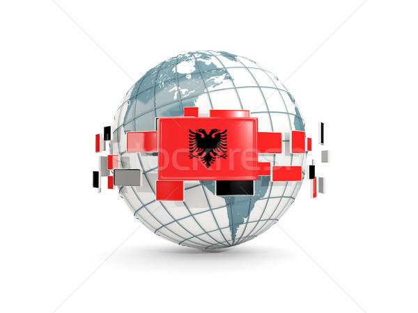 Globe with flag of albania isolated on white Stock photo © MikhailMishchenko