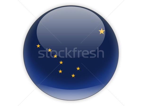 Bandeira ícone isolado branco ilustração 3d botão Foto stock © MikhailMishchenko
