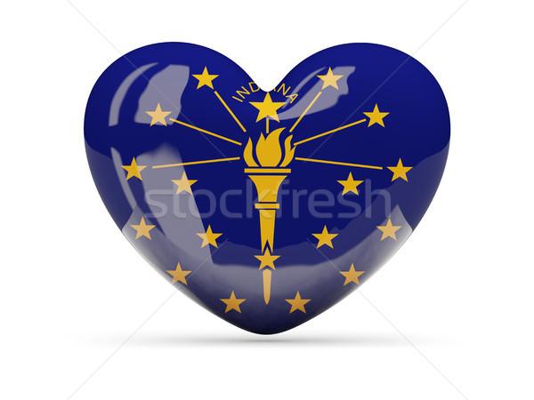 Bandeira coração ícone isolado branco ilustração 3d Foto stock © MikhailMishchenko