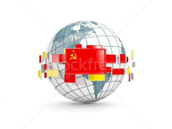 Globe with flag of ussr isolated on white Stock photo © MikhailMishchenko
