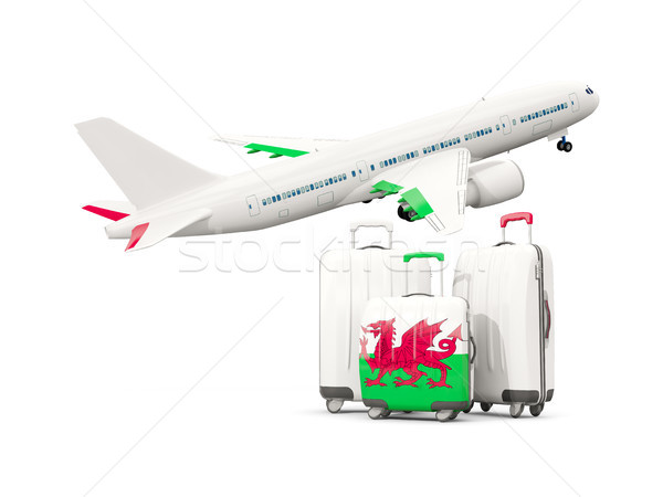 Luggage with flag of wales. Three bags with airplane Stock photo © MikhailMishchenko