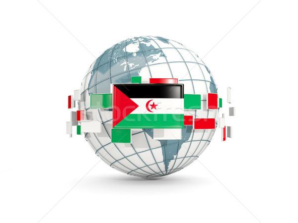 Wereldbol vlag westerse sahara geïsoleerd witte Stockfoto © MikhailMishchenko