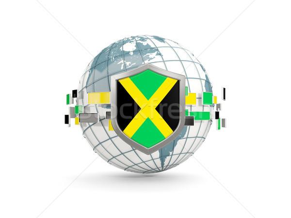Globo escudo bandeira Jamaica isolado branco Foto stock © MikhailMishchenko