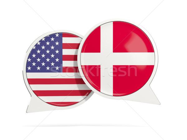 Chat burbujas EUA Dinamarca aislado blanco Foto stock © MikhailMishchenko