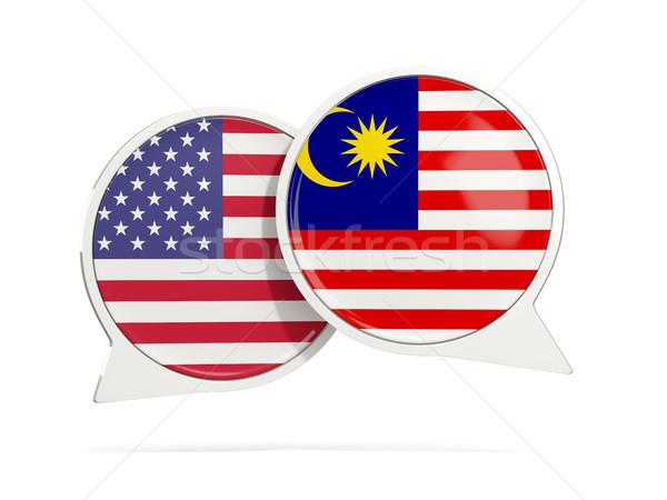 Conversar bubbles EUA Malásia isolado branco Foto stock © MikhailMishchenko