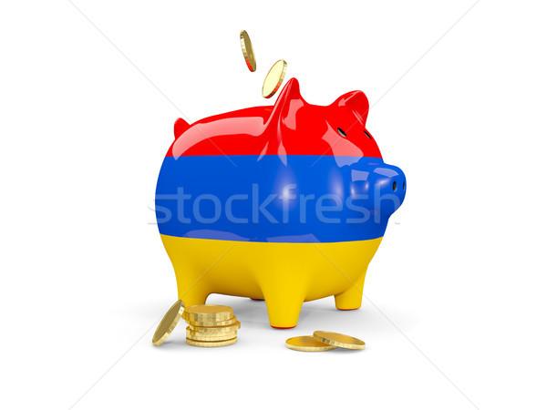 жира Piggy Bank Армения деньги изолированный белый Сток-фото © MikhailMishchenko