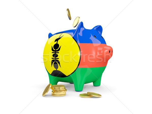 Fat piggy bank with fag of new caledonia Stock photo © MikhailMishchenko