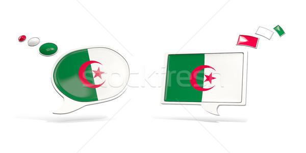 Deux chat icônes pavillon Algérie carré Photo stock © MikhailMishchenko
