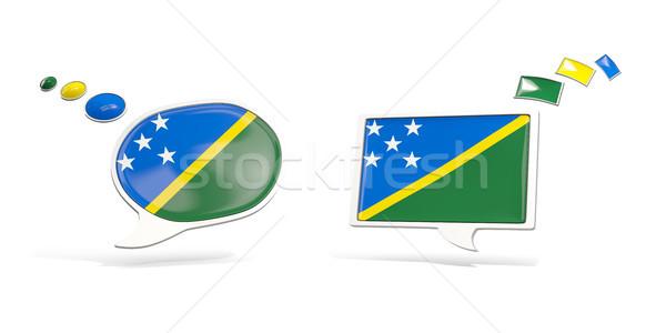 Due chat icone bandiera Isole Salomone piazza Foto d'archivio © MikhailMishchenko