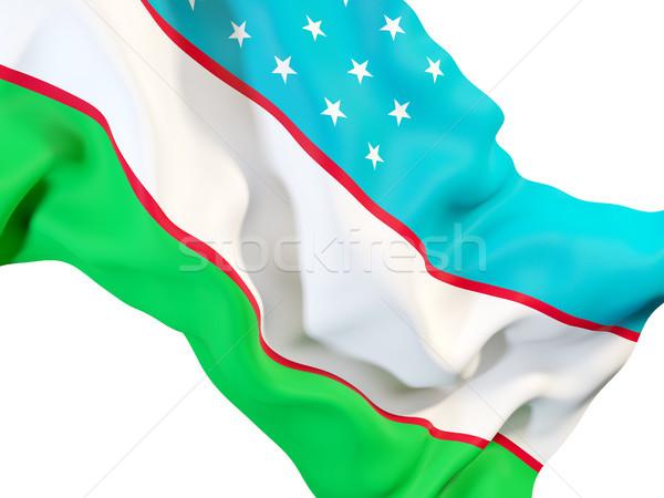 Integet zászló Üzbegisztán közelkép 3d illusztráció utazás Stock fotó © MikhailMishchenko