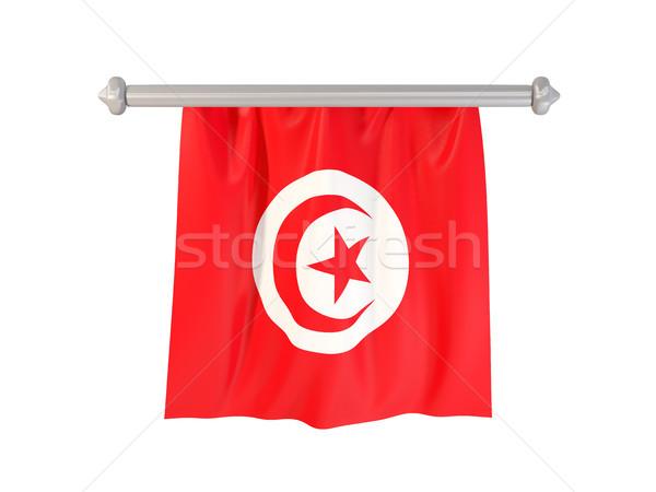 Bayrak Tunus yalıtılmış beyaz 3d illustration etiket Stok fotoğraf © MikhailMishchenko