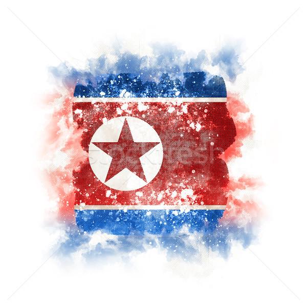 Square grunge flag of north korea Stock photo © MikhailMishchenko