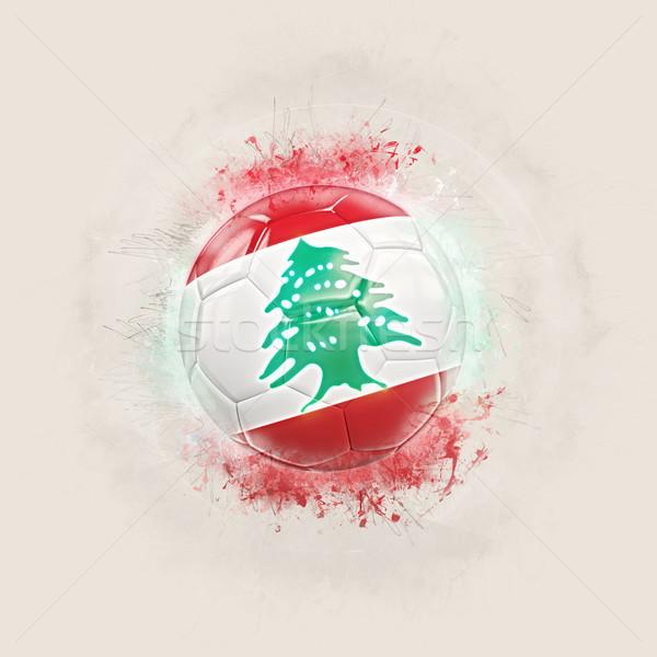 Grunge futebol bandeira Líbano ilustração 3d mundo Foto stock © MikhailMishchenko