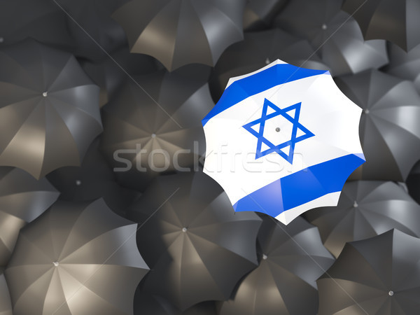 Dach Flagge Israel top schwarz Regenschirme Stock foto © MikhailMishchenko