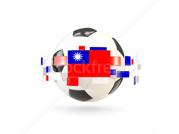 Soccer ball with line of flags. Flag of taiwan Stock photo © MikhailMishchenko