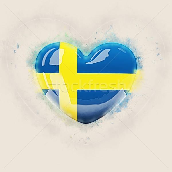 Szív zászló Svédország grunge 3d illusztráció utazás Stock fotó © MikhailMishchenko