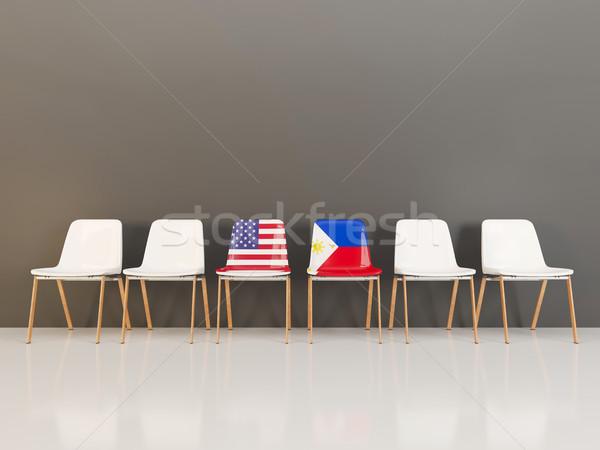 チェア フラグ 米国 フィリピン 3次元の図 ストックフォト © MikhailMishchenko
