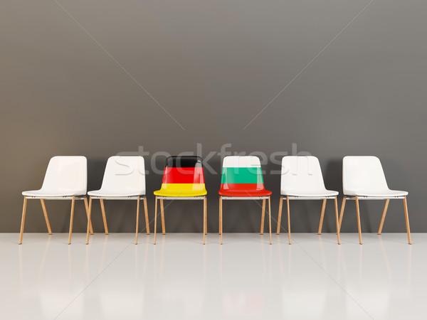 Székek zászló Németország Bulgária csetepaté 3d illusztráció Stock fotó © MikhailMishchenko