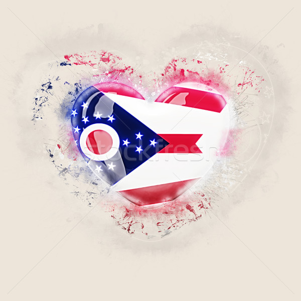 Ohio bayrak grunge kalp Amerika Birleşik Devletleri yerel Stok fotoğraf © MikhailMishchenko