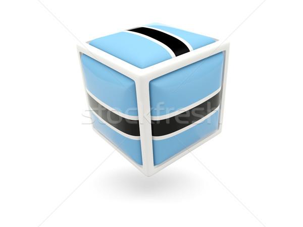 Stock fotó: Zászló · Botswana · kocka · ikon · izolált · fehér