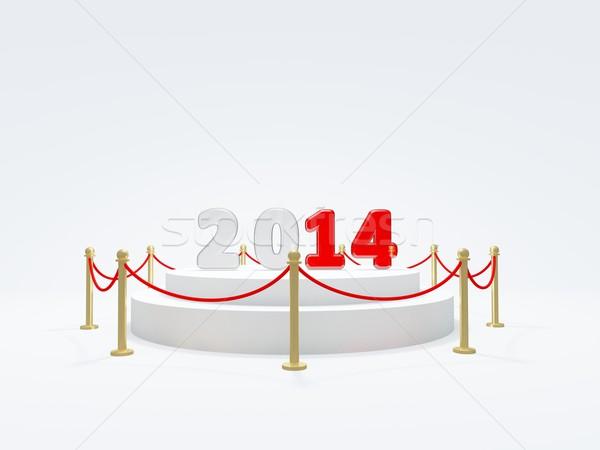 2014 Новый год символ подиум изолированный белый Сток-фото © MikhailMishchenko