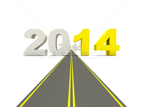 2014 New Year sign on the road Stock photo © MikhailMishchenko