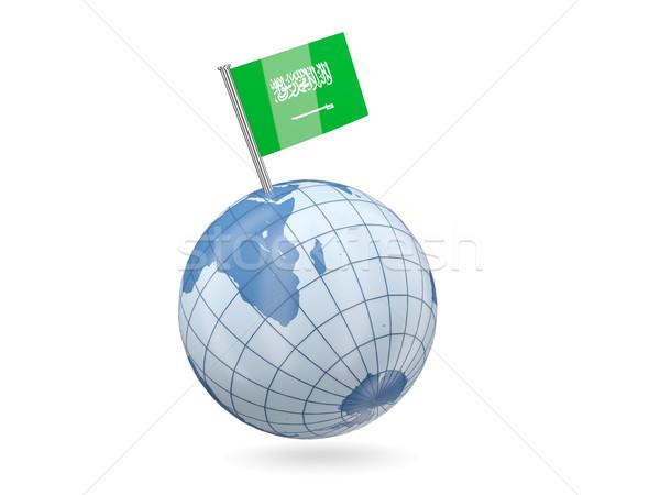 Dünya bayrak Suudi Arabistan mavi yalıtılmış beyaz Stok fotoğraf © MikhailMishchenko