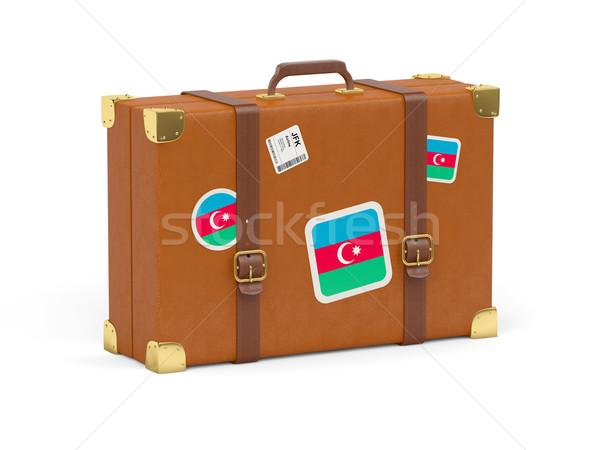 Bőrönd zászló Azerbajdzsán utazás izolált fehér Stock fotó © MikhailMishchenko