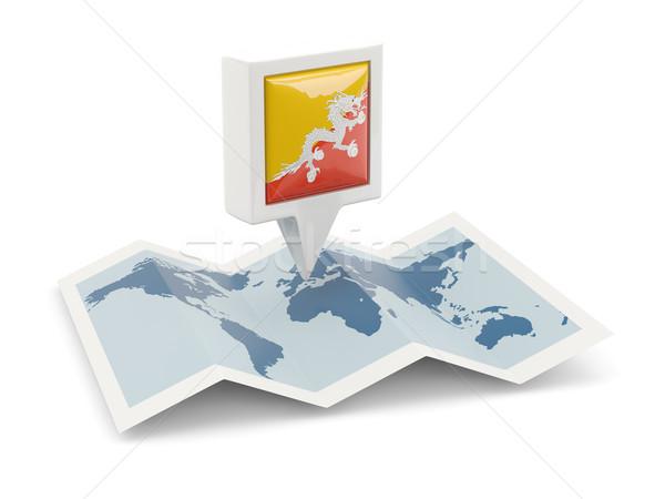 Vierkante pin vlag Bhutan kaart reizen Stockfoto © MikhailMishchenko