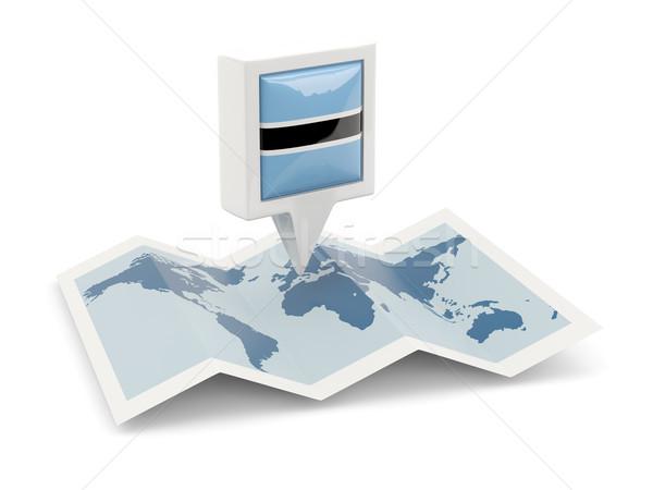 Vierkante pin vlag Botswana kaart reizen Stockfoto © MikhailMishchenko