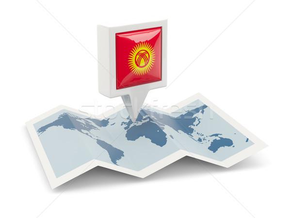 Kare pin bayrak Kırgızistan harita seyahat Stok fotoğraf © MikhailMishchenko