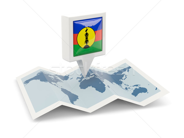 Square pin with flag of new caledonia on the map Stock photo © MikhailMishchenko