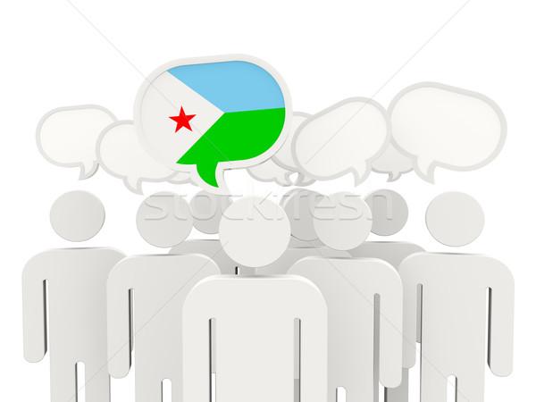 Ludzi banderą Dżibuti odizolowany biały spotkanie Zdjęcia stock © MikhailMishchenko
