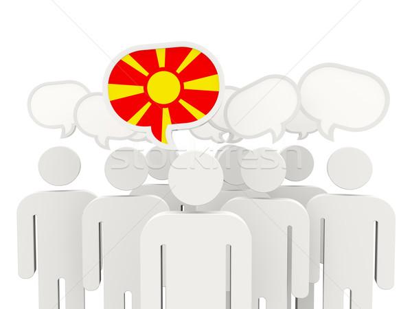 люди флаг Македонии изолированный белый заседание Сток-фото © MikhailMishchenko
