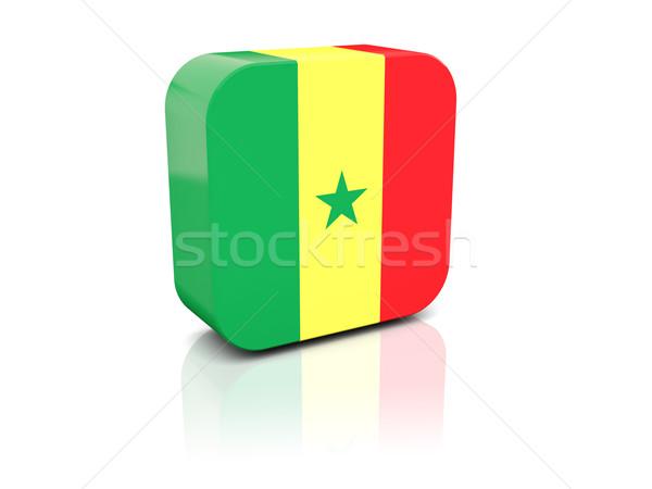 Praça ícone bandeira Senegal reflexão branco Foto stock © MikhailMishchenko