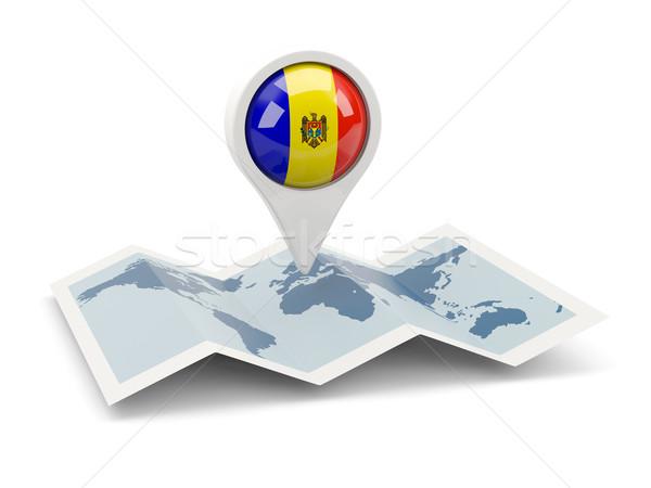 Tő zászló Moldova térkép utazás fehér Stock fotó © MikhailMishchenko