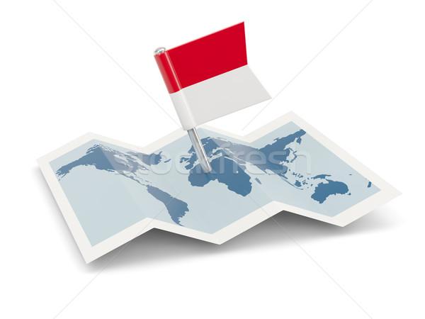 Mapa bandeira Indonésia isolado branco Foto stock © MikhailMishchenko