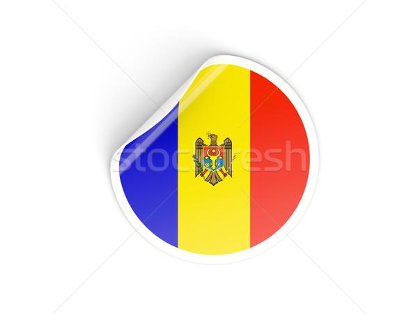 Matrica zászló Moldova izolált fehér utazás Stock fotó © MikhailMishchenko