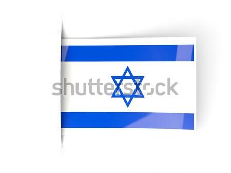 Kare etiket bayrak İsrail yalıtılmış beyaz Stok fotoğraf © MikhailMishchenko