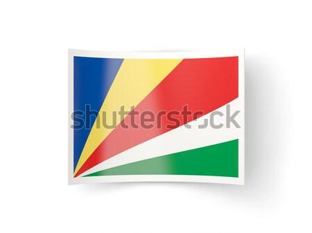 квадратный наклейку флаг Сейшельские острова изолированный белый Сток-фото © MikhailMishchenko