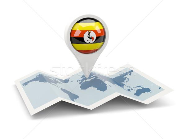 Broches pavillon Ouganda carte Voyage blanche Photo stock © MikhailMishchenko